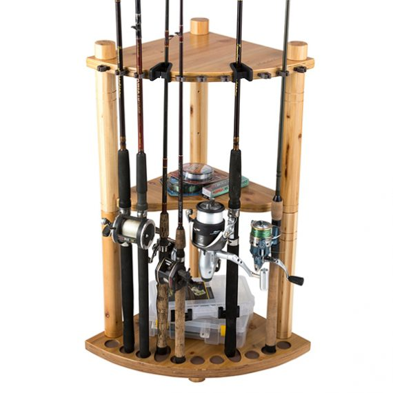 Rush Creek 13-Fishing Rod Wood Corner Storage Rack - Light Stain