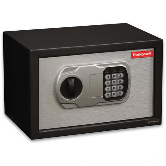 Honeywell 5102 Safe Small Steel Security Safe / .31 cu. ft. Capacity - Black/Brushed Aluminum