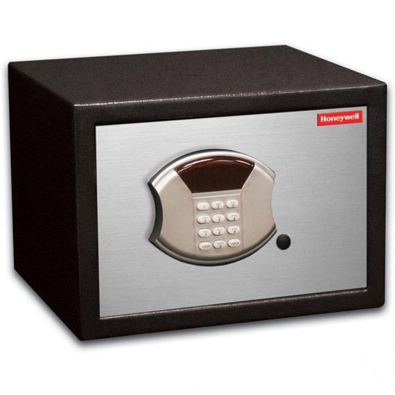 Honeywell 5112 Safe Mid-Size Steel Security Safe / .60 cu. ft. Capacity - Black/Brushed Aluminum