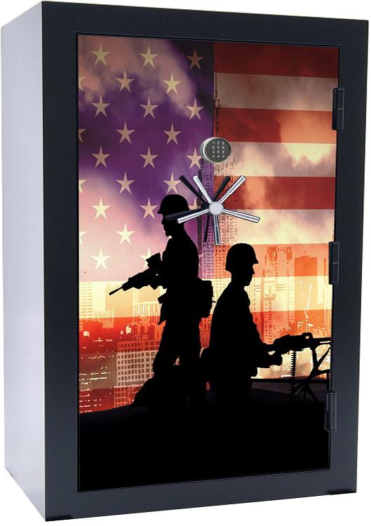 Old Glory Tactical Gun Safe - American Soldiers - 45 Gun Capacity - 2 Hour Rating