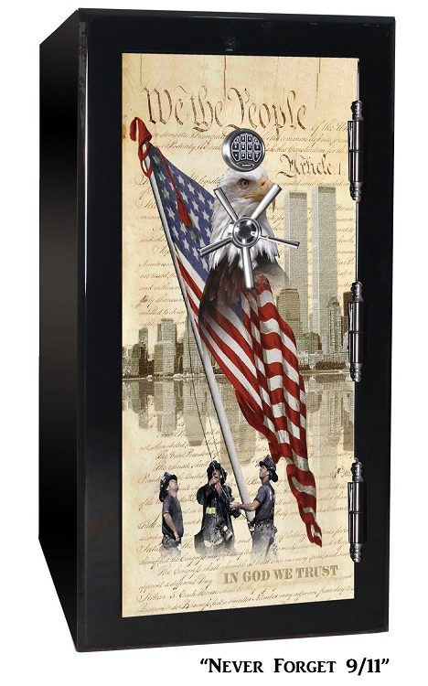 Old Glory Tactical GunSafe - Never Forget 9/11 - 24 Gun Capacity - 2 Hour Rating