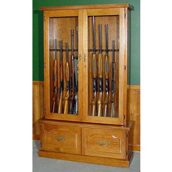 Scout 910 Gun Cabinet - Solid Oak - 12-Gun